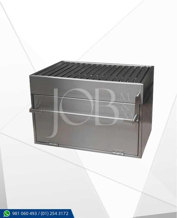 parrilla a carbon con caja china en acero inoxidable AISI 304