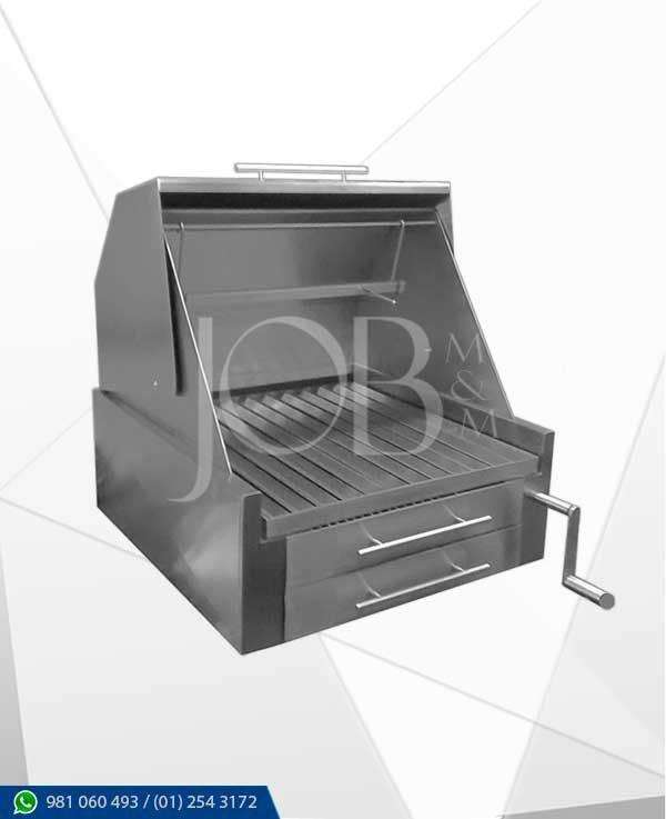 Parrilla de acero a carbón con tapa trapez, fabricado integramente en acero inox AISI 304
