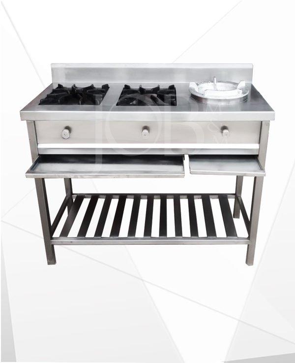 Cocina de acero inoxidable 2 hornillas JOB