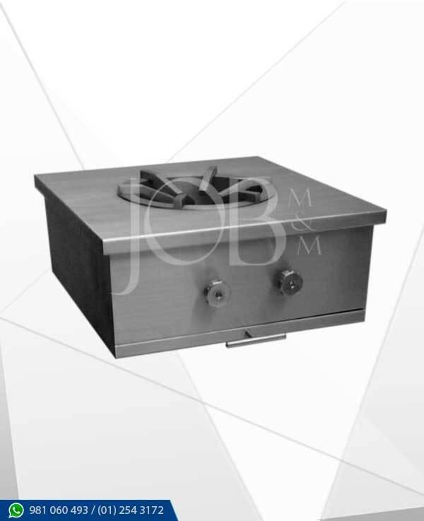 fogon wok tipo caja elaborado en acero inoxidable AISI 304 calidad gastronomica.