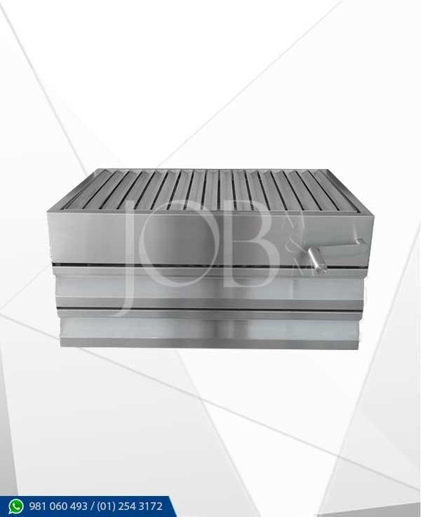 parrilla de acero inoxidable tipo caja argentina, elaborada en acero inoxidable AISI 304 gastronómico