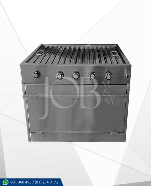 caja china a gas con parrilla elaborados integramente en acero inoxidable AISI 304