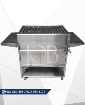 parrilla a carbon con caja china en acero inoxidable AISI 304